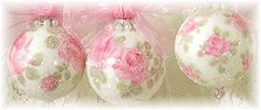 Romantic Hand Painted Ornaments - 3 Sizes of Roses - Crystal Beads - Sugared