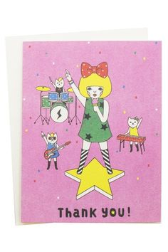 """Band of Cats Thank You Card - because nothing says """"thank you"""" like a band of cats. MEOW!"""