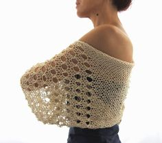 Light Beige COTTON SHRUG  ....Elegant Hand Knitted от Rumina
