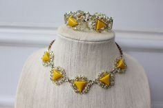 Vintage Yellow Demi Parure Jewelry set Necklace Bracelet Earring Resin Carved Celluloid Rhinestone filigree floral Triangle Choker Mod Retro by SusieKays on Etsy