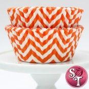 Chevron Cupcake Liners: Orange