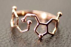 Dopamine and Serotonin Molecule Ring in 925 Sterling Silver. Dopamine and Serotonin together in one ring. Dopamine is a neurotransmitter in