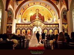 Houston wedding photographer, St George Orthodox Christian Church Ceremony, Alden Hotel Reception, wedding ceremony in progress