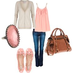 Light pinks and cream paired with dark denim and leather