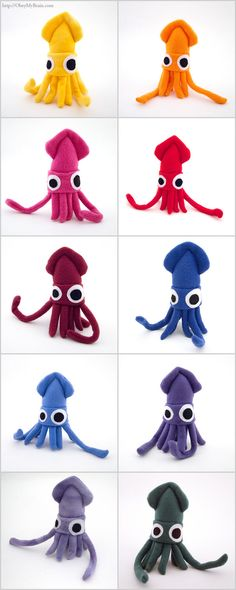 Mini Squid Plush Blue or your choice of color. $18.00, via Etsy.