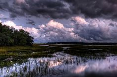 Storm Clouds at Night by Jim Crotty by jimcrotty.com, via Flickr Hilton Head Island, SC (Broad Creek marsh)