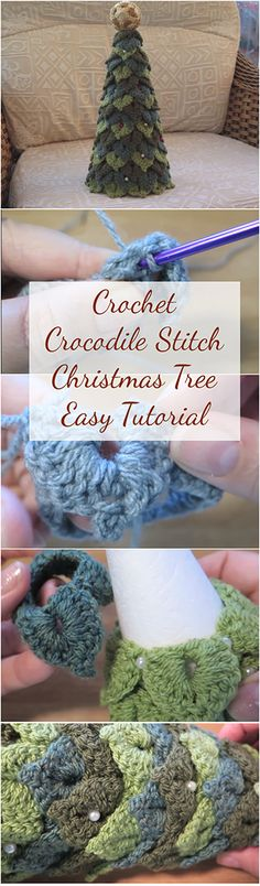 Crochet Crocodile Stitch Christmas Tree Easy Tutorial