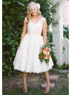 Chiffon Wadenlang Elegant V Ausschnitt Kurze Brautkleider