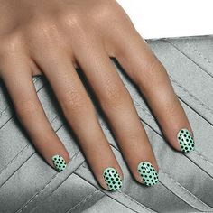 hot for spots by essie - adorable creme de menthe polish dotted with opulent dark green mixes up a flirtatious retro a-go-go look that's always in style.