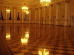 One of the banquet halls lit at night.