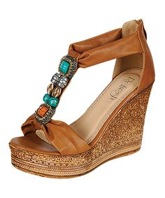 Love this Tan & Turquoise Beaded Grita Wedge Sandal by Refresh on #zulily! #zulilyfinds