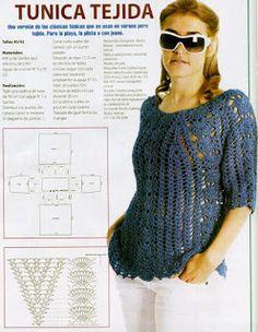CARAMELO DE CROCHET: túnica tejida azul