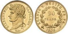 German States/Wesphalia/French Rulers AV 20 Franken 1808-J Paris Mint Hieronymus Napoleon 1807-13