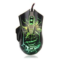 TNI Backlit Gaming Mouse with 6 Buttons Cool Crack Breathing LED Light Optical Game Engine