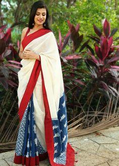 January Collection - Combination Of Indigo And White Chanderi And Red Border Sambalpuri Saree, Kalamkari Saree, Saree Dress, Bollywood Saree, Sabyasachi, Bollywood Fashion, Saree Blouse, Ethnic Fashion, Indian Fashion