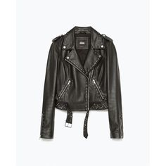 Zara Studded Biker Jacket (105 CAD) ❤ liked on Polyvore featuring outerwear, jackets, coats, leather jacket, vestes, black, studded biker jacket, moto jacket, black jacket and motorcycle jacket