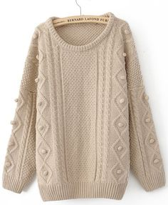 Khaki Round Neck Long Sleeve Pullovers Sweater
