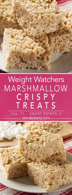 Recipes Snacks Low Calories Weight Watchers Marshmallow Crispy Treats Dessert Recipe with mini marshmallows, butter, vanilla extract, salt, and Rice Krispies cereal. Low calorie and fat free. Low Calorie Desserts, Ww Desserts, No Calorie Foods, Low Calorie Recipes, Weight Watcher Desserts, Rice Krispies, Recipes With Marshmallows, Mini Marshmallows, Marshmallow Recipes