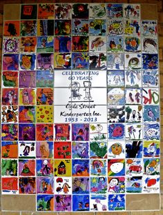 Children create an artwork on paper and this will be reproduced onto a ceramic tile. The Wall Mural has been admired by families and their friends. Tile Murals, Mural Art, Wall Mural, Wall Tiles, School Birthday, 25th Birthday, Birthday Celebration, Eagle Scout Project Ideas, School Murals