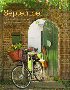 Bicycle with flower basket at Green garden gate Garden Doors, Garden Gates, Hello September, Sweet September, September Morn, September Calendar, Bicycle Art, Bicycle Decor, Retro Bicycle