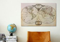 """Amazon.com - iCanvasART Vintage Two Hemisphere World Map By Unknown Canvas Print #GTY1 - 18""""x12"""" (.75"""" inch deep) -"""