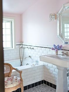 pink walls with white tile - love this bathroom found on PinkWallpaper