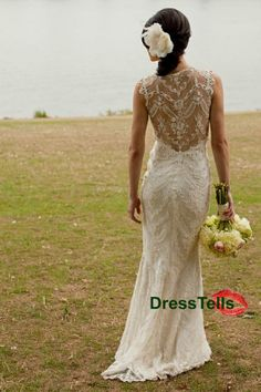 Lace Wedding Dress  backless Ivory wedding dresses / by dresstells, $399.99