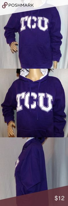 TCU Hoodie NCAA Horned Frogs Embroidered Hoodie TCU Hoodie Horned Frogs Embroidered Hoodie Purple Hoodie Size L LOW and Fast Shipping It is in excellent condition and appears nearly new It is made by Stadium Athletics and is a 70/30 Cotton Poly blend clearly a High-end item it will keep you warm and dry.  4 Reference, our Supermodel Denise's Measurements are 32-24-33. BUNDLE 2 or more items & get a BIGGER DISCOUNT or make an OFFER Fairies Love Offers :) Stadium Athletics Tops Sweatshirts…