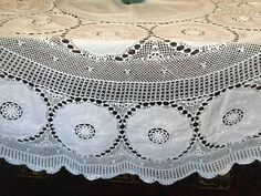 """Eye catching White Lace Round Table Cover in my #etsy shop: Lace and Linen Tablecloth 10 Dinner Napkin Set White Round 84"""" http://etsy.me/2EmrexL #housewares #white #wedding #easter #circle #cotton #whitetablecloth #linenlace #roundtablecloth"""