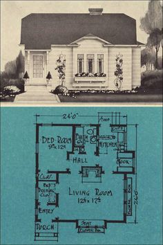 One-bedroom Modern Cottage for 1924 - Stetson & Post - Seattle House Plans - The Minnetonka. Love the look of the outside, floor plan need some tweeking though. Building A Tiny House, Small House Plans, House Floor Plans, One Bedroom, Bedroom Modern, Vintage House Plans, Vintage Homes, Small Room Design, Modern Cottage