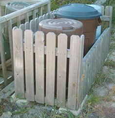 trash can fenced bin