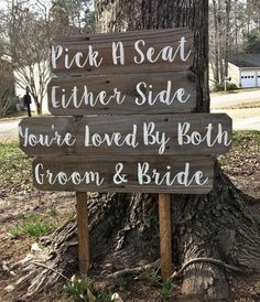 Pick A Seat, Either Side, Not A Side, Vows Ceremony Sign, Vows Renewal Sign, Wedding Sign Wood, Rust #planmywedding Wedding Crafts, Wedding Themes, Our Wedding, Wedding Tips, Wedding Bells, Wedding Flowers, Wedding Planning, Dream Wedding, Wedding Decorations