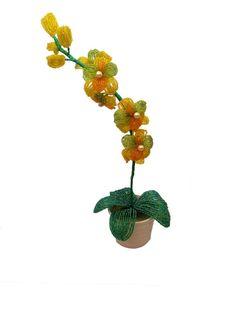 $30 Beaded orchid  green yellow orchid  handmade by AmazingBeadedTrees