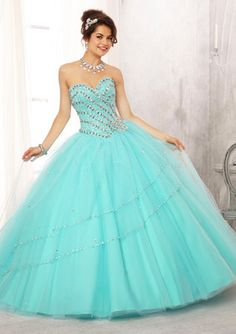 Jewel Beaded Bodice on a Tulle Ball Gown Skirt Quinceanera Dress #88082