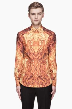 ALEXANDER MCQUEEN Amber and gold wood grain graphic shirt