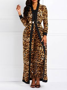Women Suit Sets Leopard Print Ladies Spring Autumn Long Sleeve Coat Pantsuits Casual Trouser Outfits Size S Color brown Elegant Summer Dresses, Formal Dresses For Women, Suits For Women, Blusas Animal Print, Streetwear, Leopard Print Pants, Leopard Coat, Trouser Outfits, Sequin Mini Dress