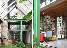 Live, Work, Remodel: Bold Brick Home + Office Townhouse. Interior Garden. Photographed by Dujardin Filip, House 43 may be have one of the most impressive interiors ever created within an unassuming and humble townhouse shell – a series of rooms that mix old and new in ways that are both clever and classy, appealing to architecture lovers of all kinds. Read more: http://dornob.com/secret-rooms-cool-new-condo-hidden-in-old-townhouse/#ixzz3IQlIqXMO