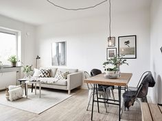 Minimal living and dining room combo Home Living Room, Interior Design Living Room, Living Room Designs, Living Room Decor, Living Spaces, Dining Living Room Combo, Apartment Living, Dining Room, Sinnerlig Ikea