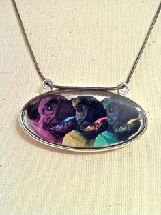 Pug Necklace  Pugs in Technicolor by Thecharmingpug on Etsy, $14.00