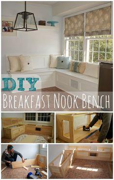 DIY built in bench for an eat-in kitchen nook ideas Corner Breakfast Nooks, Breakfast Nook Bench, Breakfast Ideas, Ikea Breakfast, Ikea Built In, Built In Bench, Kitchen Benches, Diy Kitchen, Kitchen Storage