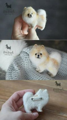 Needle felted Wool brooch Pomeranian Cream Spitz Dog This brooch SOLD ! ___________________________ I can make miniature of your pets or animals any size according to your description or photos. Each new toys/brooch will be different, not like the previous one, with its own unique