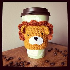 Ravelry: Lionheart Coffee/Tea Cup Cozy FREE pattern by Sarah Mancini, thanks so xox  ☆ ★   https://www.pinterest.com/peacefuldoves/