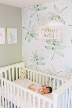 I wanted a calm and soothing space for my baby girl with hints of blush pink without being too overbearing and girly so I also added neutral grey and ivories. I fell in love with the green leaf wallpaper and it really brightened up her room. I love just sitting in the nursery with my baby girl.