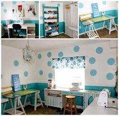 Polka dot walls ~ blue wainscot  ~ charming !