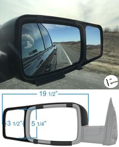 Towing mirrors snap over the backs of your factory side-view mirrors to extend your line of sight. They give you an expanded view of the road and your trailer and allow you to safely and easily change lanes, pass, and park. Dodge Ram Pickup, Carpentry Projects, Car Mirror, Look In The Mirror, Side View, Mirrors, Trucks, Change, Vehicles