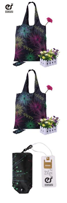 [Visit to Buy] Ecosusi Rose Printing Foldable Reusable Shopping Bags Promotional Bags EcoTote Bag shopping bag #Advertisement