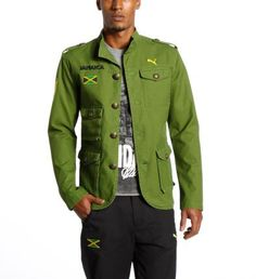 Men's Iron Lion Military Jacket designed by Cedella Marley: Designed by Cedella Marley, the Iron Lion Military Jacket blends pomp and swagger, and is intended for Team Jamaica's hours spent off track. Iron Lion stitching in the collar is balanced by epaulettes on both shoulders, echoing military ornaments.  Four pockets in different places on front      provide sufficient space. Jamaican flag      embroidery and stitched lettering on right chest...