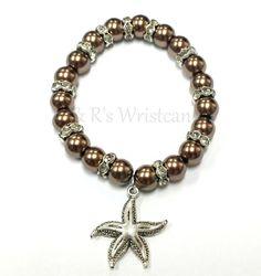 Brown Starfish Beaded Bracelet by RandRsWristCandy on Etsy, $7.00