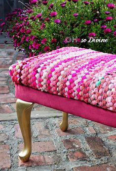 Footstool bench recovered with a rag rug as choice of fabric; Upcycle, Recycle, Salvage, diy, thrift, flea, repurpose, refashion! For vintage ideas and goods shop at Estate ReSale & ReDesign, Bonita Springs, FL