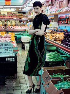 Sarah Abney, Queen of Pak Choi, wears Prada dress … Sofia Sanchez and Mauro Mongiello (photo) … Kai Margrander (style) … Ashley Javier (hair) … Rie Omoto (make-up) … Natalie Pavloski (nails) … Chinatown, Harper's Bazaar Germany, October 2016…